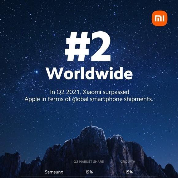 Lần đầu tiên Xiaomi đứng thứ 2 thị trường điện thoại thông minh toàn cầu