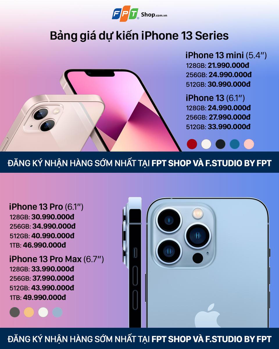 FPT Shop: iPhone 13 Series có giá dự kiến từ 21,99 triệu đồng