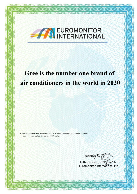 Năm thứ 6 liên tiếp Gree đạt chứng nhận thương hiệu điều hòa số 1 thế giới