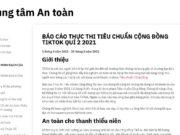TikTok công bố Báo cáo Thực thi Tiêu chuẩn Cộng đồngQuý 2 2021